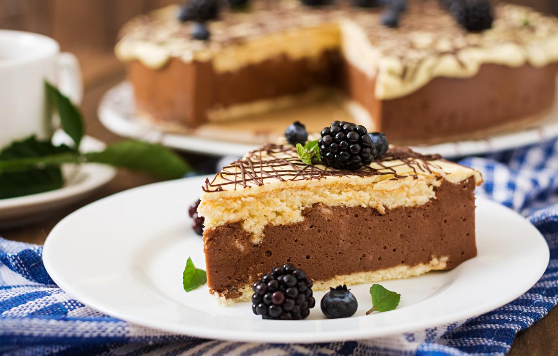 Photo wallpaper cake, cream, chocolate, souffle