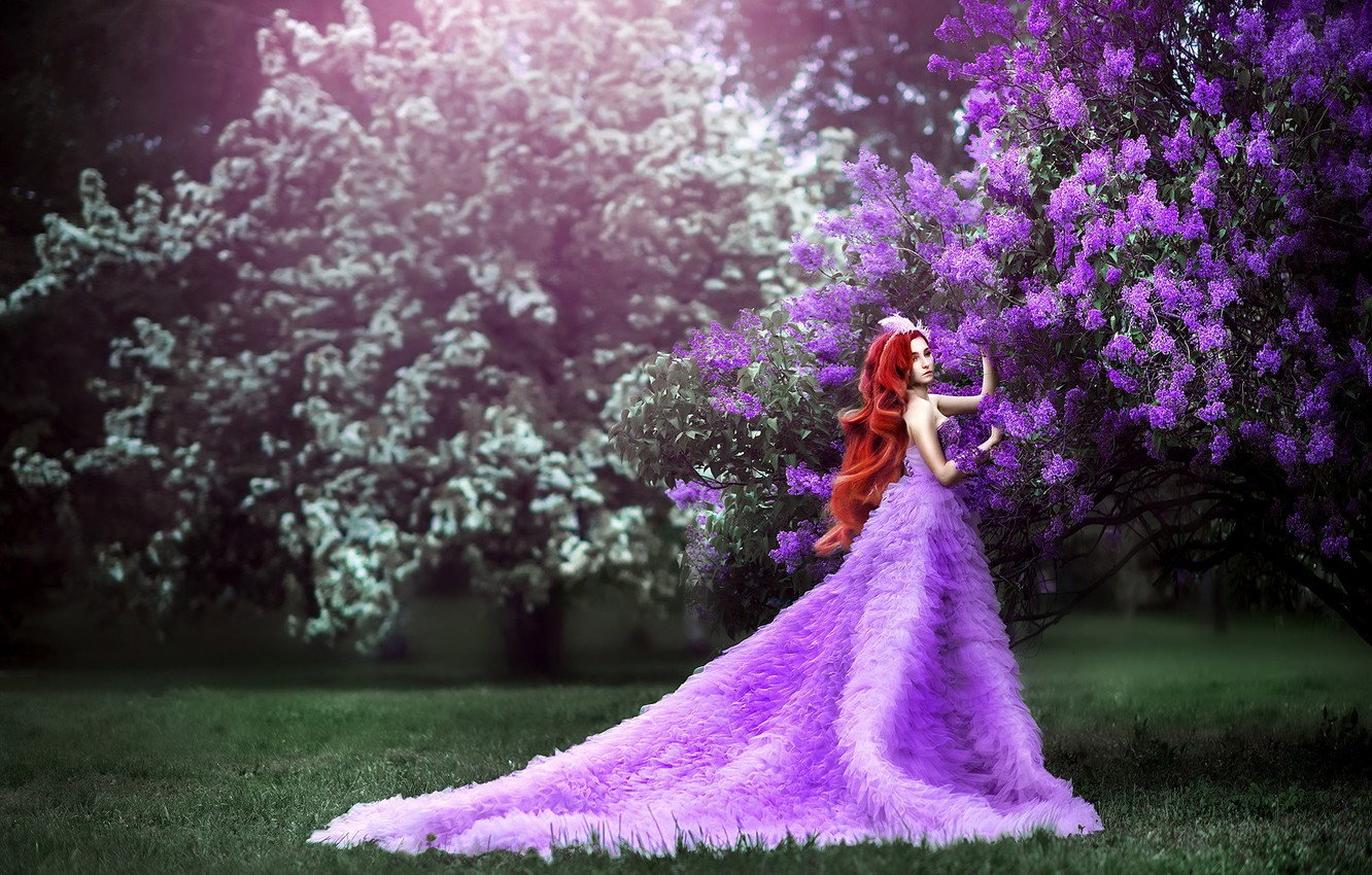 Photo wallpaper grass, girl, flowers, branches, pose, lawn, glade, spring, garden, dress, fantasy, photographer, red, walk, Princess, ...