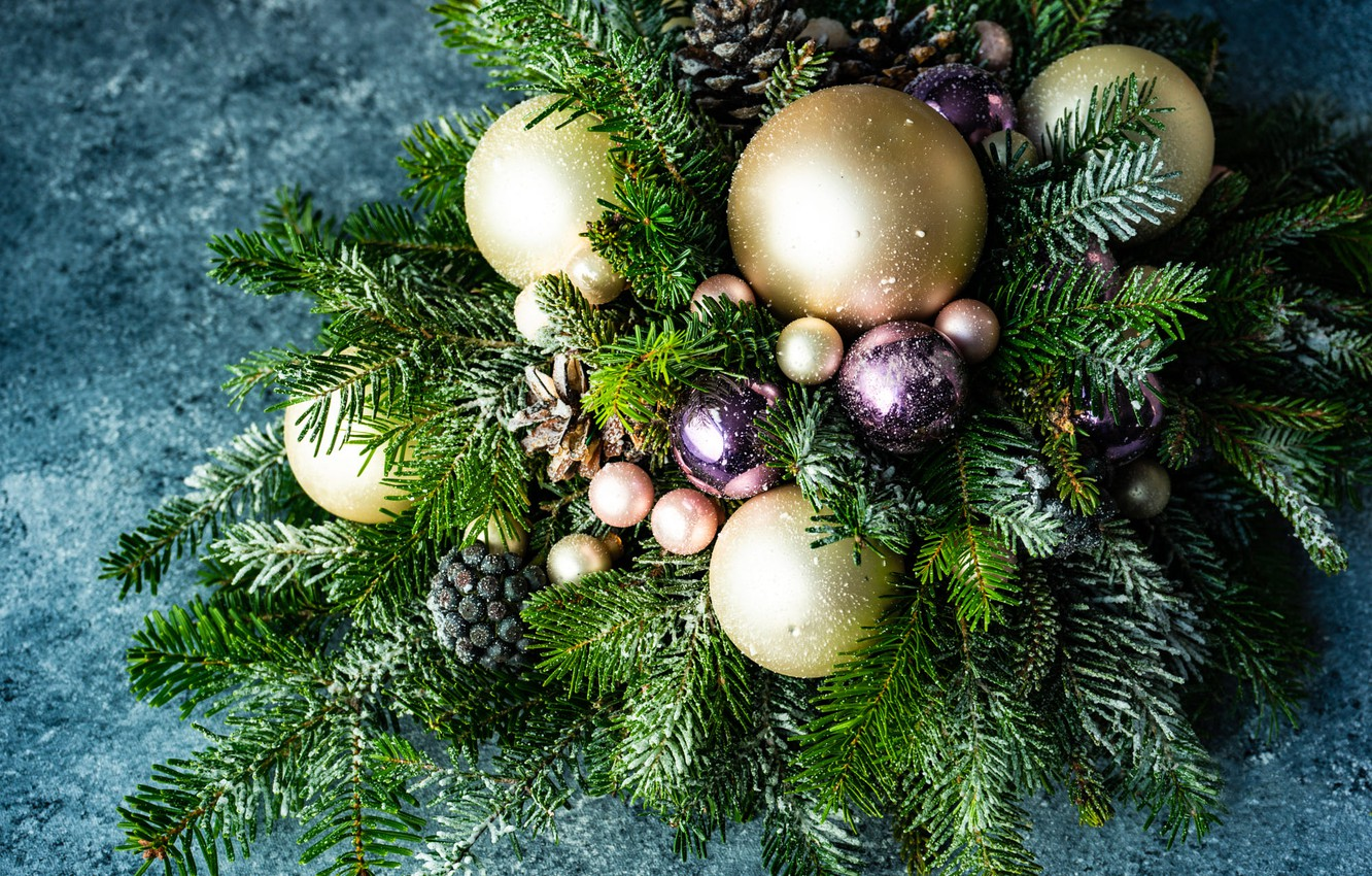 Wallpaper Winter Balls Snow Branches Holiday Balls Toys Christmas New Year Gold Plated Needles Bumps A Lot Different Blue Background Christmas Decorations Images For Desktop Section Novyj God Download