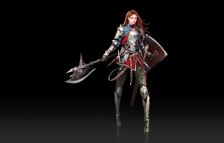 Photo wallpaper Girl, Fantasy, Art, Style, Minimalism, Characters, Shield, Armor, Ha Donghyun