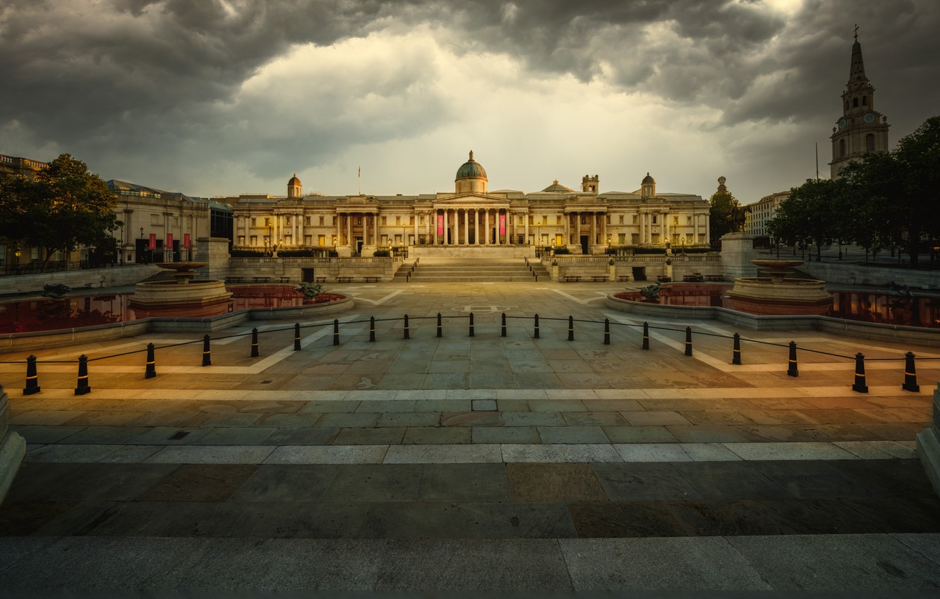 Photo wallpaper clouds, the city, England, London, building, UK, Museum, fountains, Trafalgar square, the national gallery