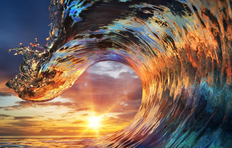 Wallpaper Ocean Sunset Water Wave Images For Desktop