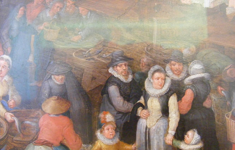 Photo wallpaper Big fish market, 1603, Jan Brueghel The Elder (Velvet), detail of the artist's family