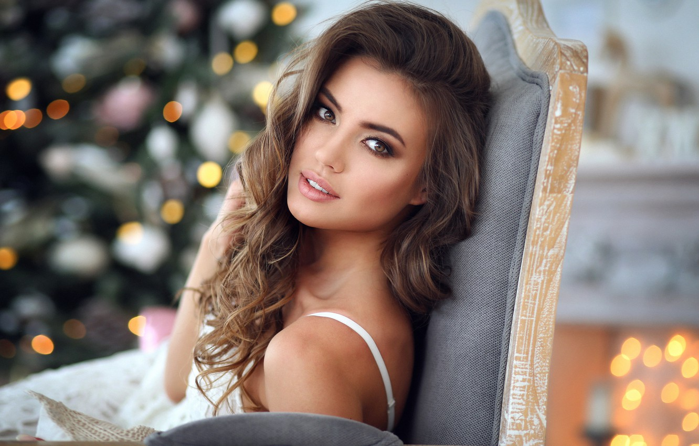 Photo wallpaper Brunette, Model, Dress, Look, Makeup, Armchair, Xenia, Long Curly Hair, Xenia, Backgrounds, Dmitry Arhar, Dmitry …
