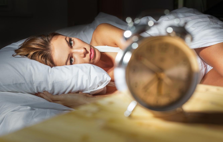 Photo wallpaper woman, beautiful, bed, insomnia, alarm clock