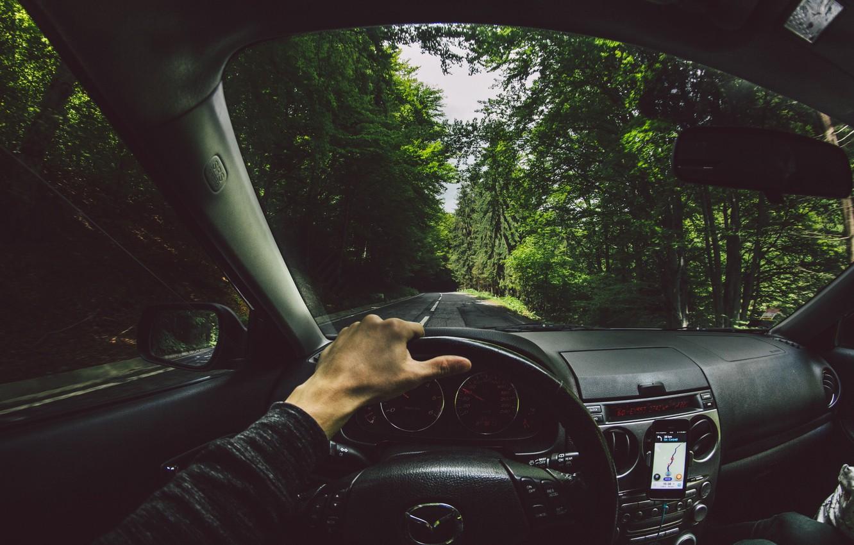 Photo wallpaper road, forest, hand, the wheel, mazda, Navigator