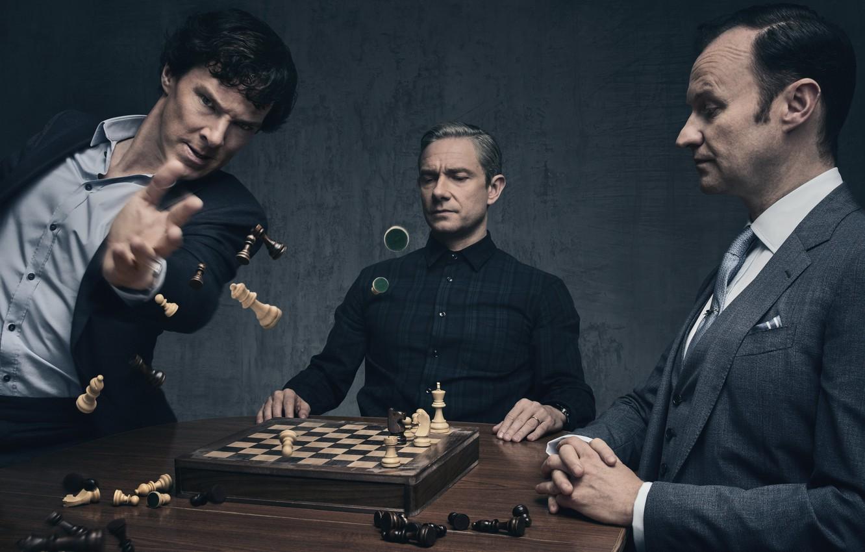 Photo wallpaper chess, Sherlock Holmes, Martin Freeman, Benedict Cumberbatch, Sherlock, Mark Gatiss, Mycroft Holmes, Sherlock BBC, John …