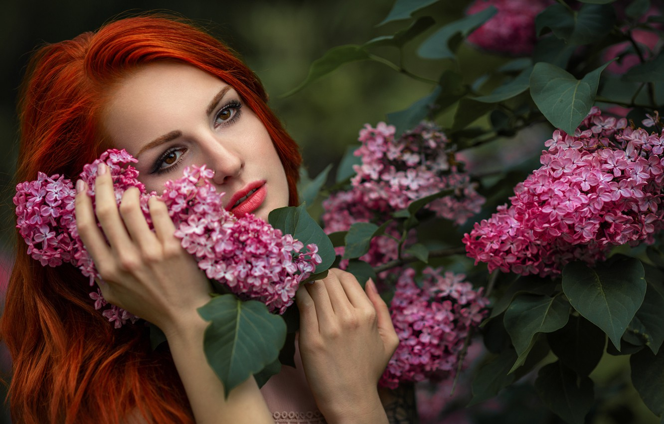 Photo wallpaper girl, face, mood, hands, red, redhead, lilac, The Novel Lancets