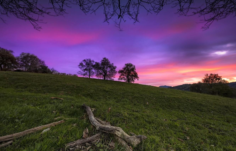 Photo wallpaper the sky, sunset, mountain