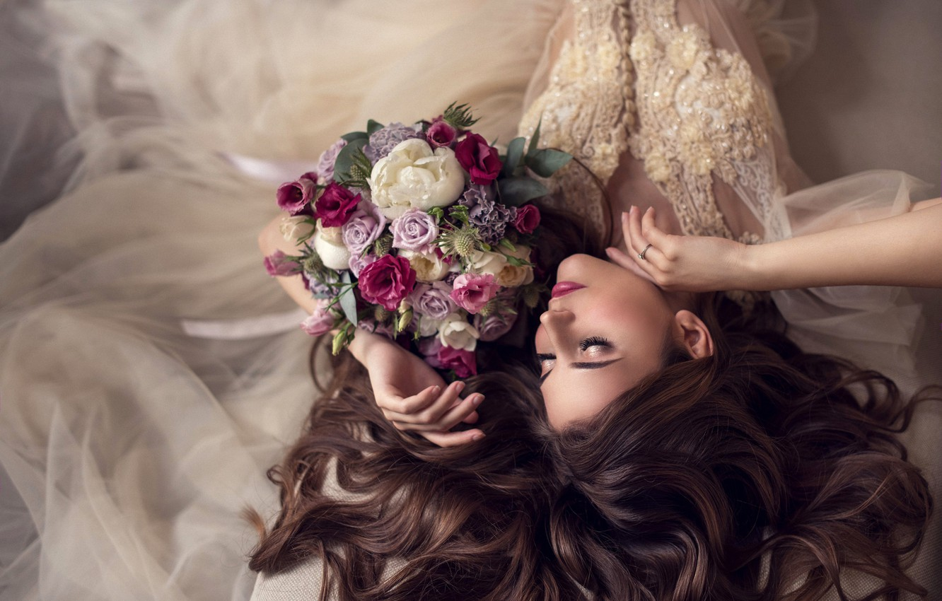 Photo wallpaper girl, flowers, face, pose, style, hair, bouquet, hands, makeup, the bride, wedding dress, closed eyes, …