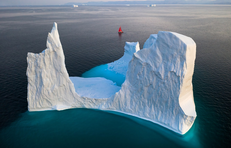 Photo wallpaper sailboat, iceberg, iceberg, Greenland, sailboat, greenland, Gerald Macua
