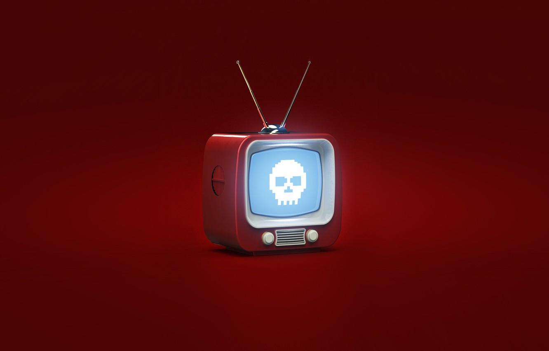 Photo wallpaper Red, Minimalism, Background, TV, Art, Evil TV, Ovcharenko, Alexander Ovcharenko