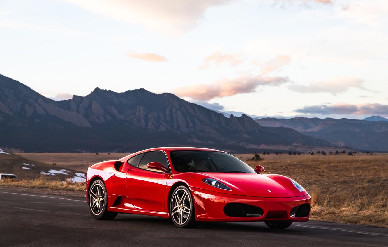 Photo wallpaper mountains, red, supercar, Ferrari F430, sports car