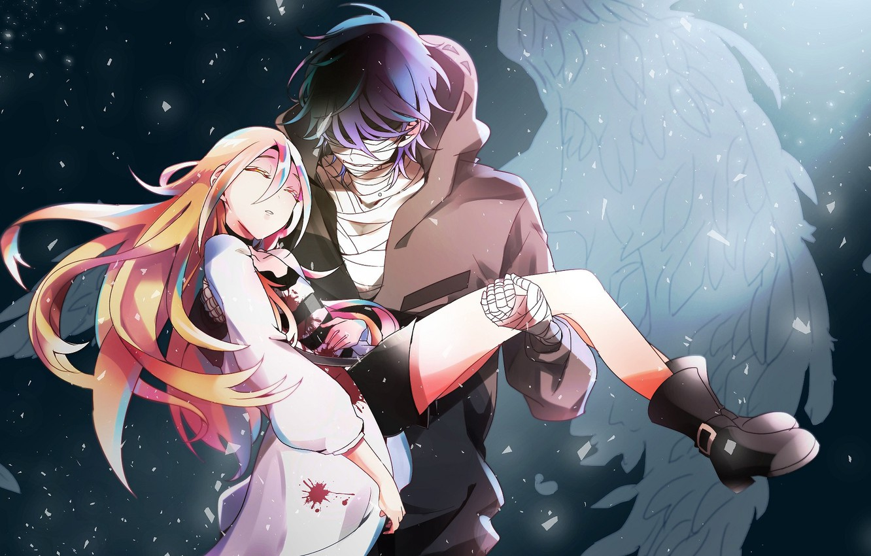 Photo wallpaper girl, romance, anime, pair, guy, Angel bloodshed, Satsuriku no Tenshi