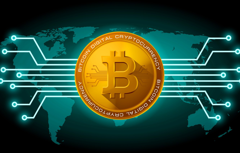 Photo wallpaper green, green, fon, coin, bitcoin, bitcoin, btc