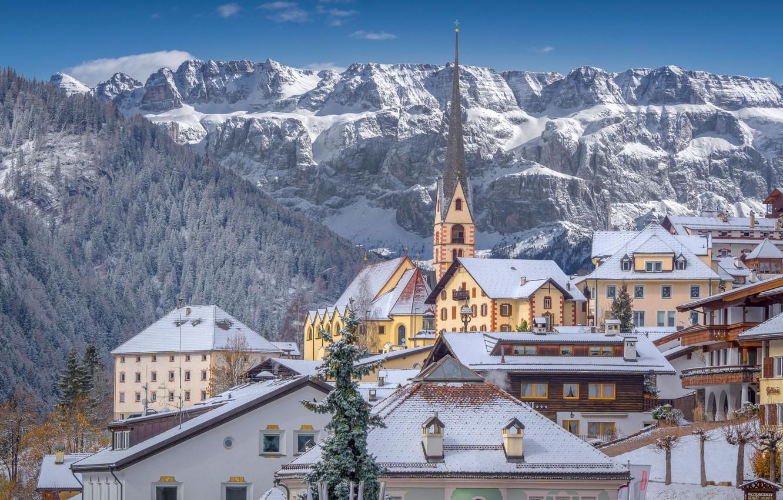 Photo wallpaper winter, mountains, building, home, Italy, Church, Italy, The Dolomites, Dolomites, Santa Cristina Valgardena, Санта-Кристина-Вальгардена