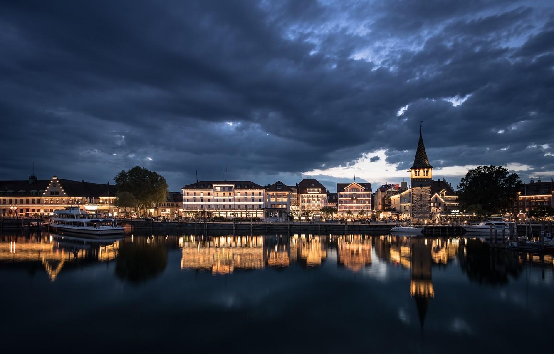 Photo wallpaper night, the city, Lindau