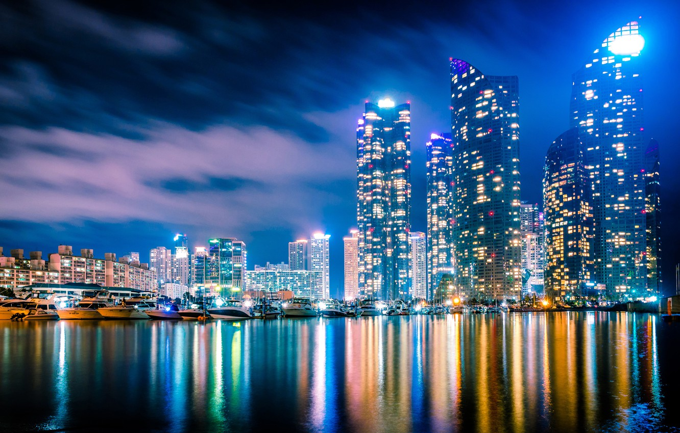 Photo wallpaper building, yachts, night city, boats, skyscrapers, South Korea, harbour, South Korea, Busan, The Republic Of …