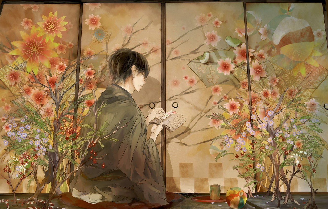 Photo wallpaper the ball, screen, guy, Japanese clothing, in the room, in profile, tatami, floral pattern, seedlings, …