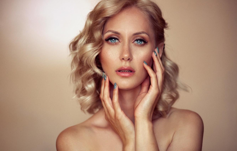 Photo wallpaper look, girl, face, background, portrait, hands, makeup, blonde, shoulders, manicure, Alex Shaklein
