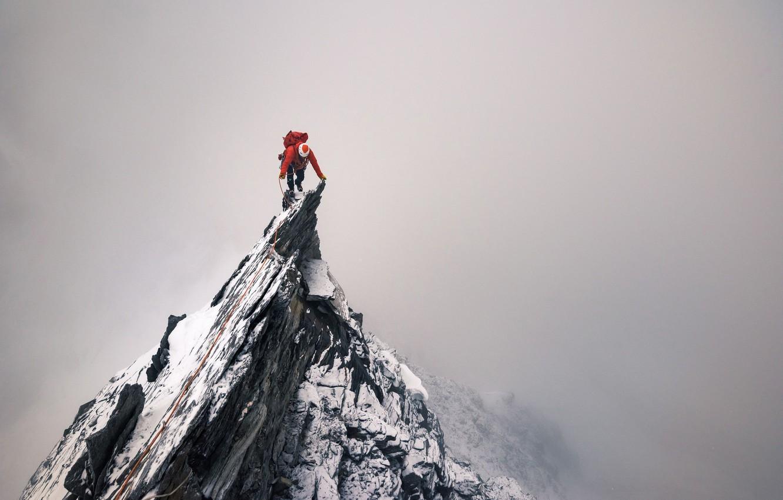 Photo wallpaper rock, rocks, people, top, climber, peak