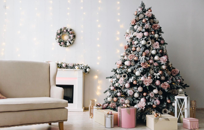 Photo wallpaper decoration, balls, tree, New Year, Christmas, gifts, Christmas, balls, design, New Year, gift, room, interior, …