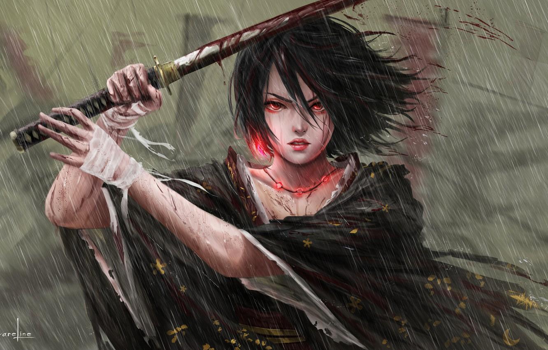 Photo wallpaper Girl, Japan, Asian, Girl, Sword, Japan, Fantasy, Japanese, Asian, Heavy Rain, Fiction, Rain, Katana, Samurai, …