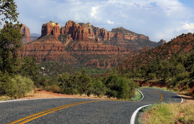 Photo wallpaper road, landscape, mountains, nature