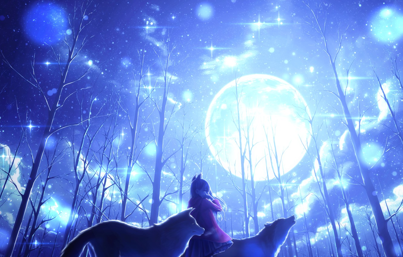 Photo wallpaper winter, girl, trees, the moon, wolves