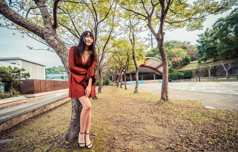 Photo wallpaper girl, pose, dress, legs, Asian