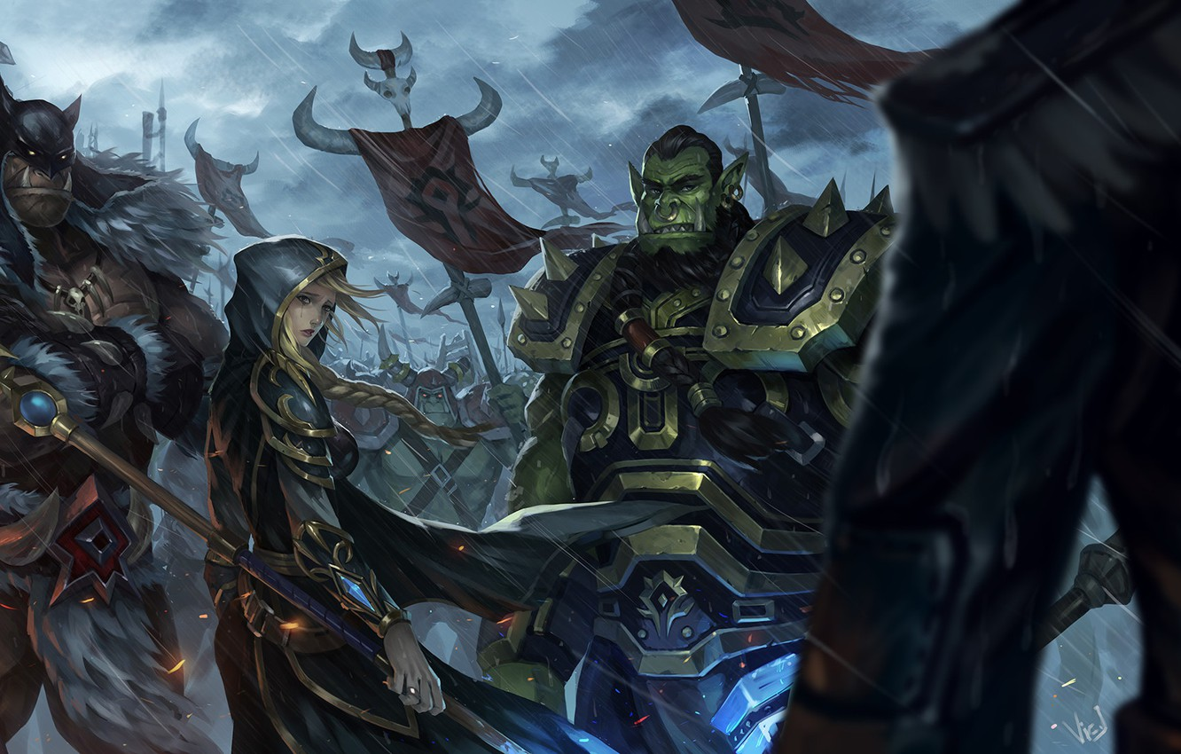 Photo wallpaper Figure, The game, Rain, WOW, Blizzard, Art, Orc, Fiction, World of WarCraft, WarCraft, Illustration, Concept …
