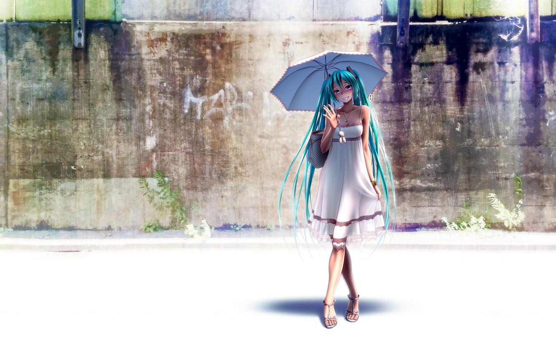 Photo wallpaper the sun, umbrella, dress, hatsune miku, wokada