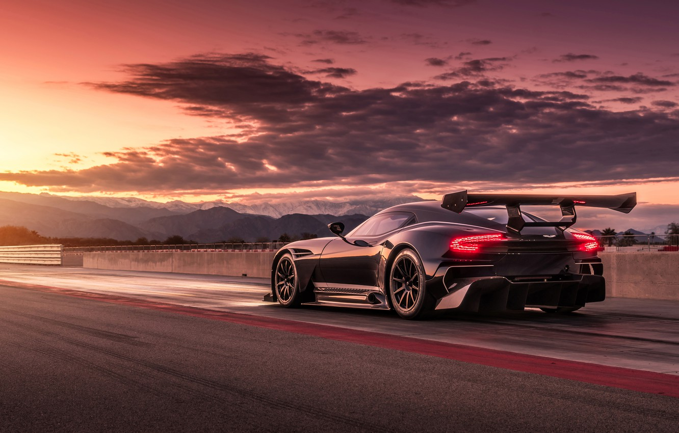 Photo wallpaper the sky, sunset, track, aston martin vulcan