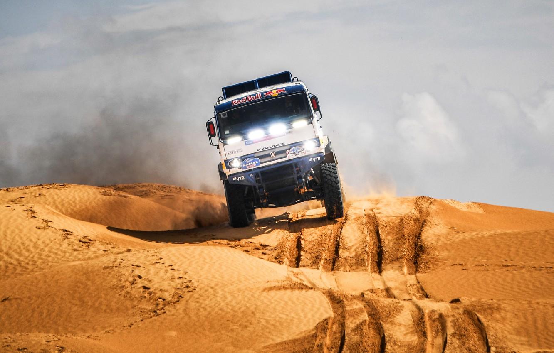Photo wallpaper Sand, Auto, Sport, Machine, Light, Truck, Race, Master, Russia, 300, 2018, Kamaz, Rally, KAMAZ-master, Rally, …