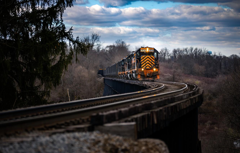 Photo wallpaper nature, train, railroad