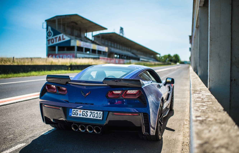 Photo wallpaper Corvette, Chevrolet, rear view, Grand Sport, 2017