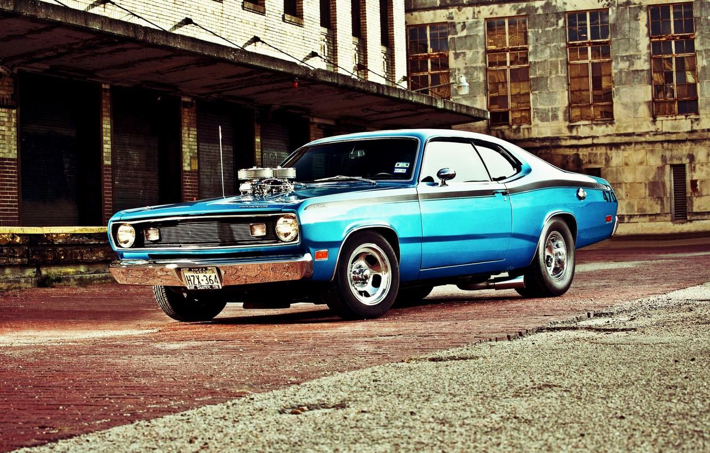 Photo wallpaper Muscle, Dodge, Car, Blue, Coupe, Engine, Mopar, Demon, Dodge Demon