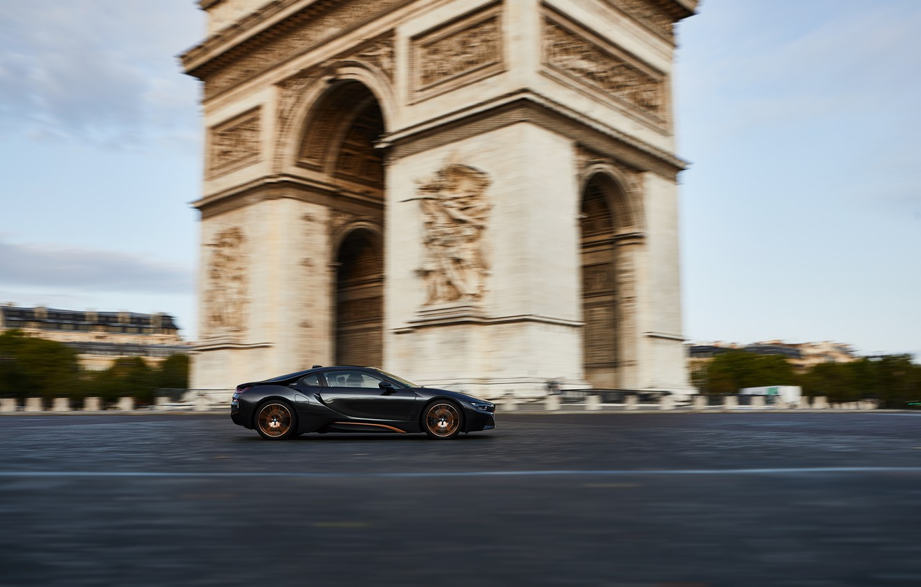 Photo wallpaper France, Paris, speed, BMW, Coupe, Arch, BMW i8, 2019, Ultimate Sophisto Edition