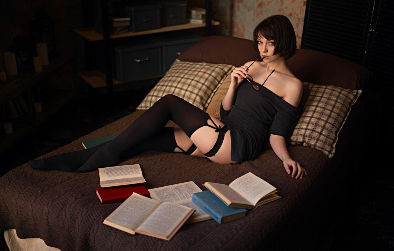 Photo wallpaper Girl, Photo, Look, Glasses, Model, Girl, Hair, Bed, Brunette, Stockings, Feet, Pillow, Bed, Legs, Hot, …