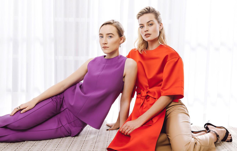 Photo wallpaper look, pose, girls, makeup, beauty, actress, Saoirse Ronan, Margot Robbie