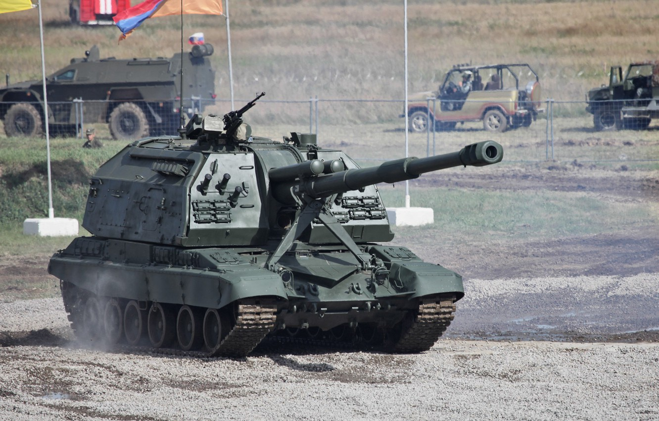 Photo wallpaper weapons, polygon, SAU, Msta-S, artillery, 2S19, the Russian army