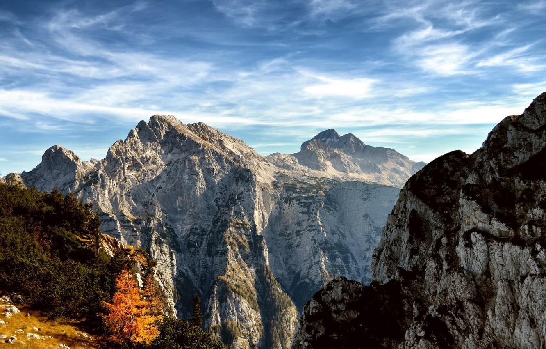 Photo wallpaper the sky, clouds, trees, mountains, nature, rocks, Slovenia, Triglav