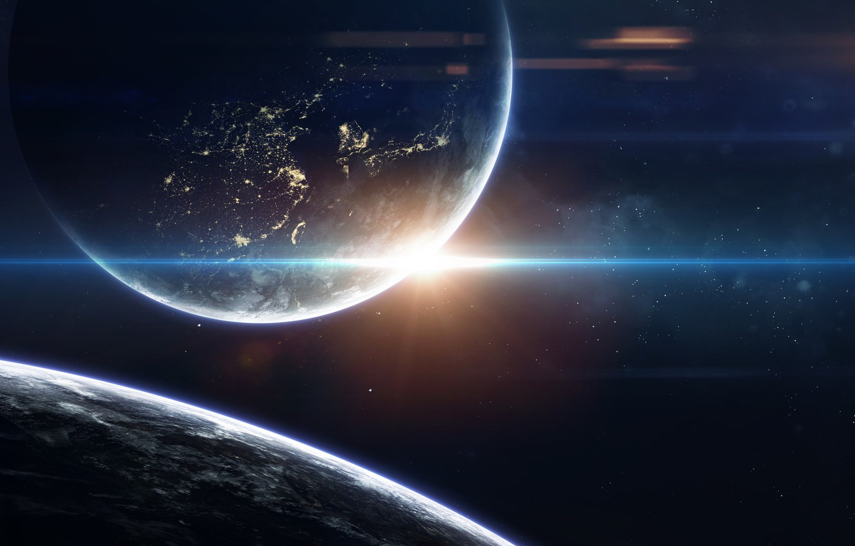 Photo wallpaper Night, Stars, Planet, Space, Star, Light, Planet, Light, Planets, Star, City, Art, Stars, Space, Blik, …
