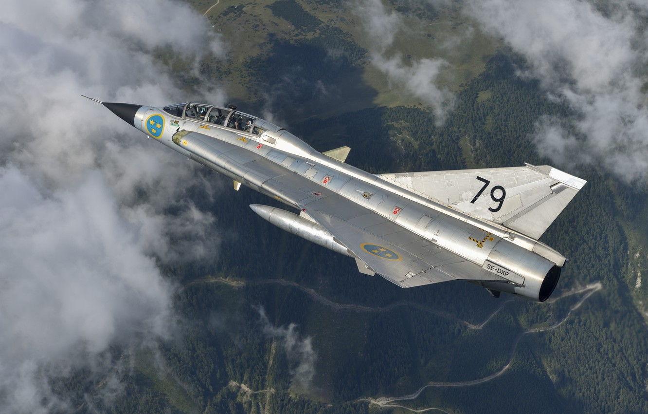 Photo wallpaper Fighter, You CAN, Swedish air force, Can 35 Draken