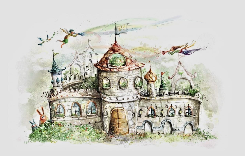 Photo wallpaper castle, figure, tale, gate, flag, elves, grey background, spires, castle, white dove, eared, baths