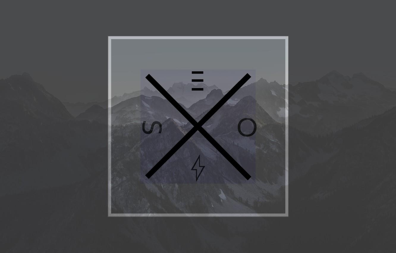 Photo wallpaper Mountains, Logo, square, minimalsim
