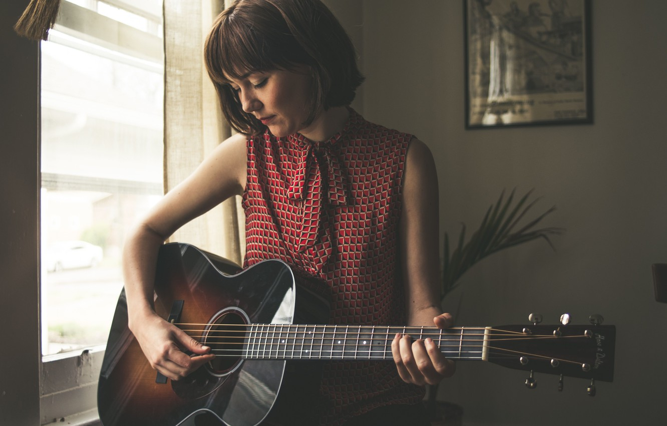 Photo wallpaper guitar, American singer in country style, Molly Tuttle, bluegrass, Molly Rose Tuttle, country folk