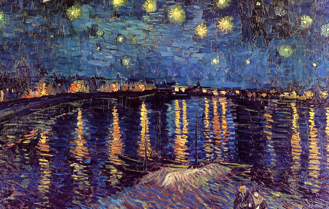 Photo wallpaper night, river, boats, lights, pair, Vincent van Gogh, Starry Night, Over the Rhone