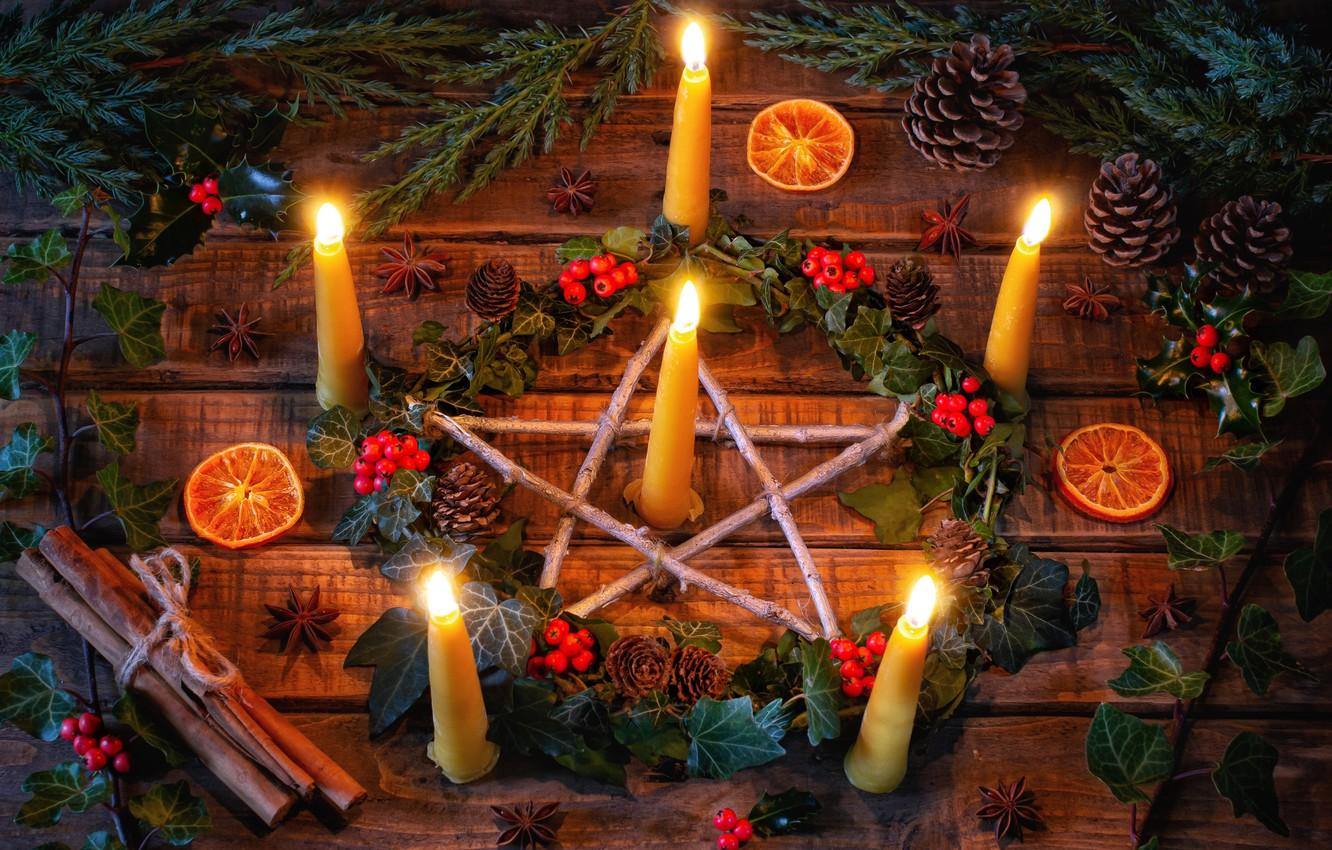 Photo wallpaper branches, berries, star, candles, cinnamon, wreath, bumps, Winter solstice