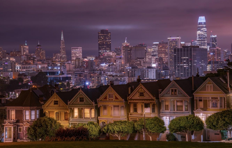 Photo wallpaper trees, building, home, CA, San Francisco, night city, skyscrapers, California, San Francisco